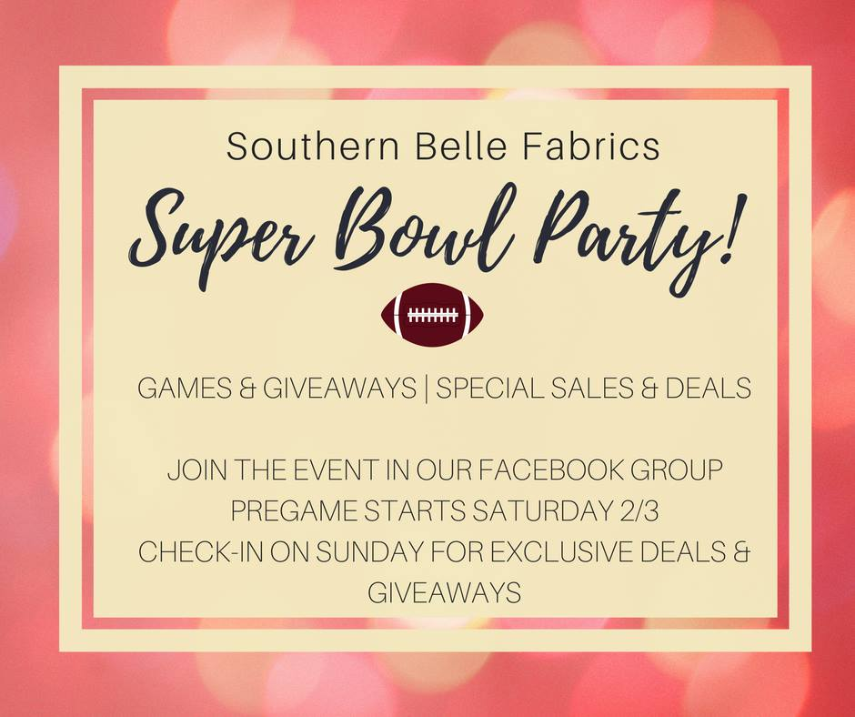 superbowl sunday fabric sale Southern Belle Fabrics