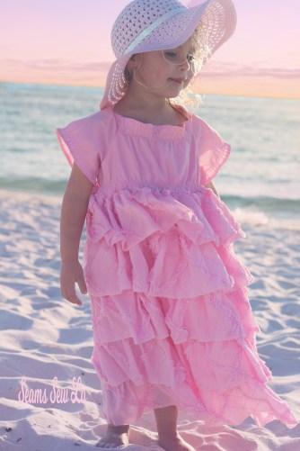 Girls Easter Dress Sewing Pattern, Ruffle Petticoat Dress by Handmaiden's Cottage