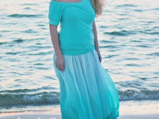 Women's Mya Maxi Skirt Sewing Pattern by Petite Stitchery in Aqua Ombre Chiffon Fabric.
