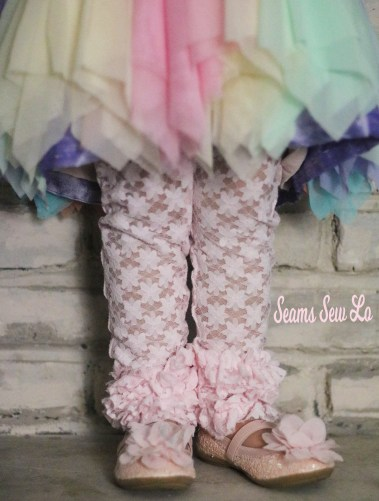 Pink lace ruffled leggings sewing pattern for little girls