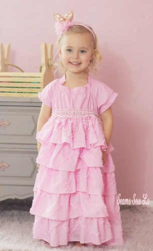 girls petticoat dress sewing pattern pink pintuck ruffles