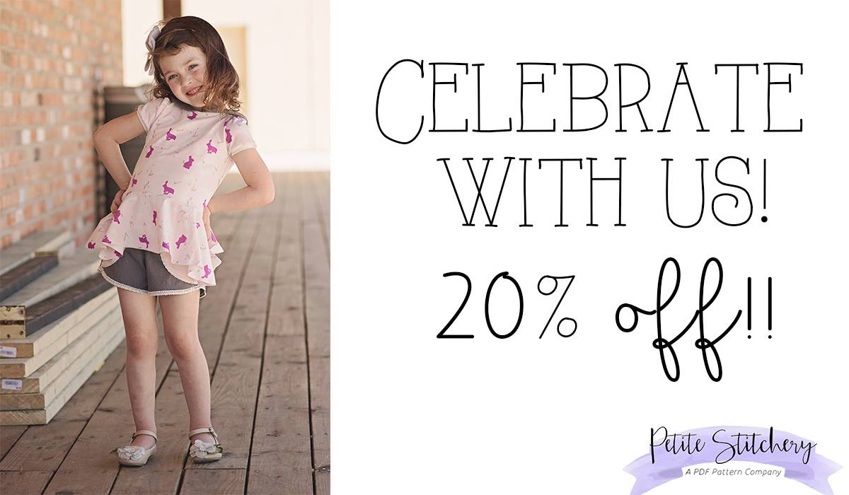 Petite Stitchery 20% off sale ALL sewing patterns