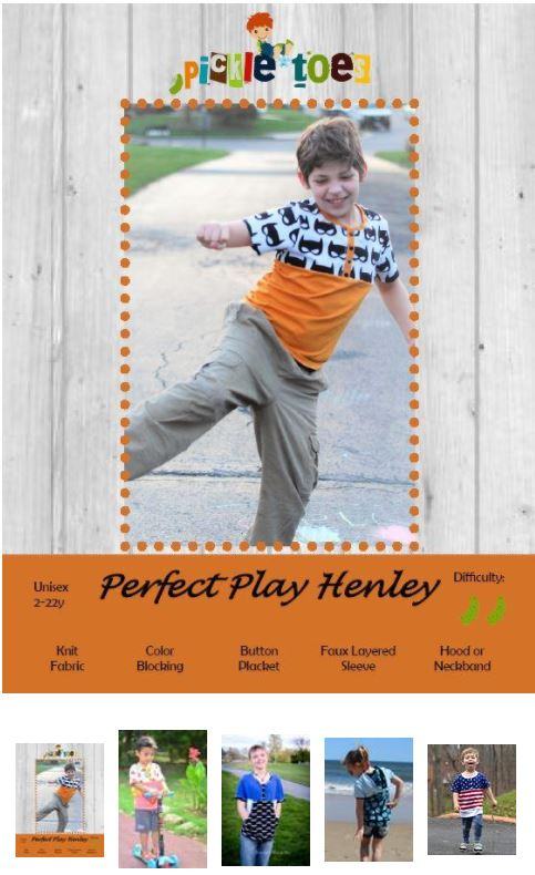 Perfect Play Boys Henley Sewing Pattern Sale