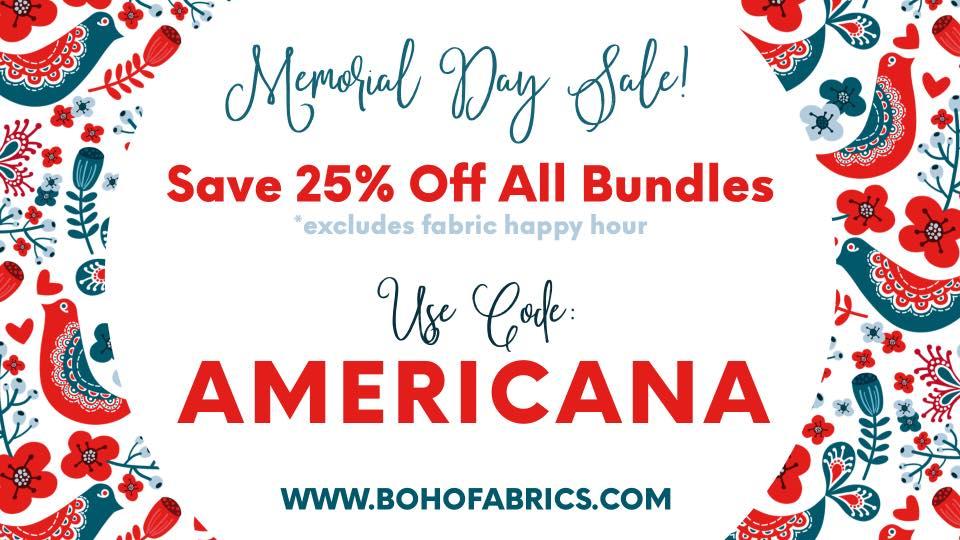 Boho Fabrics Memorial Day Sale
