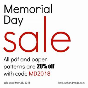 Hey June Paper and PDF Sewing Patterns Memorial Day Sale