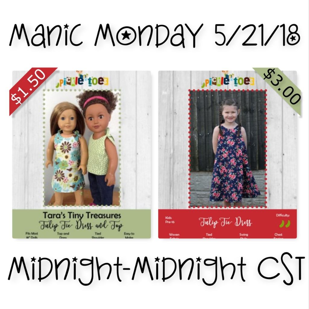 Manic Monday Sewing Patterns Sale at Pickle Toes May 21