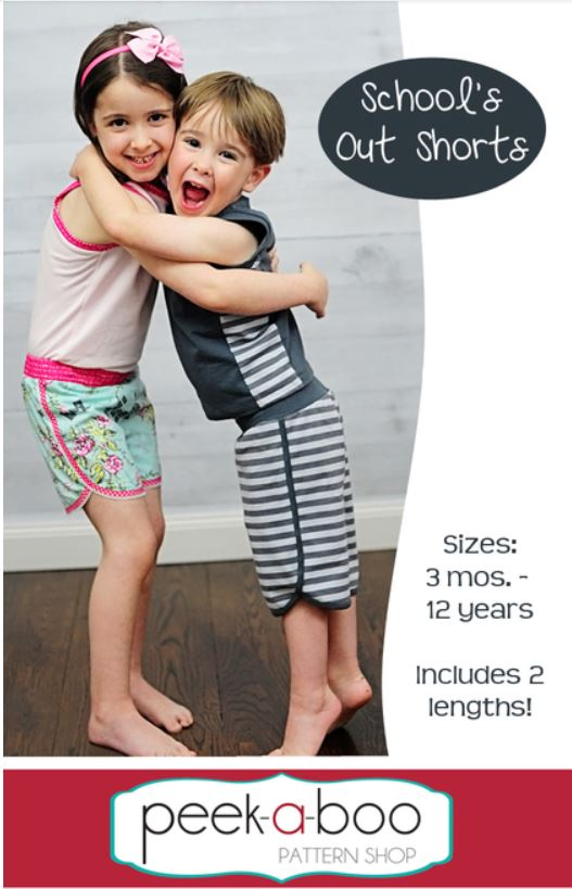 Schools Out Shorts Sewing Pattern for Boys and Girls Sale