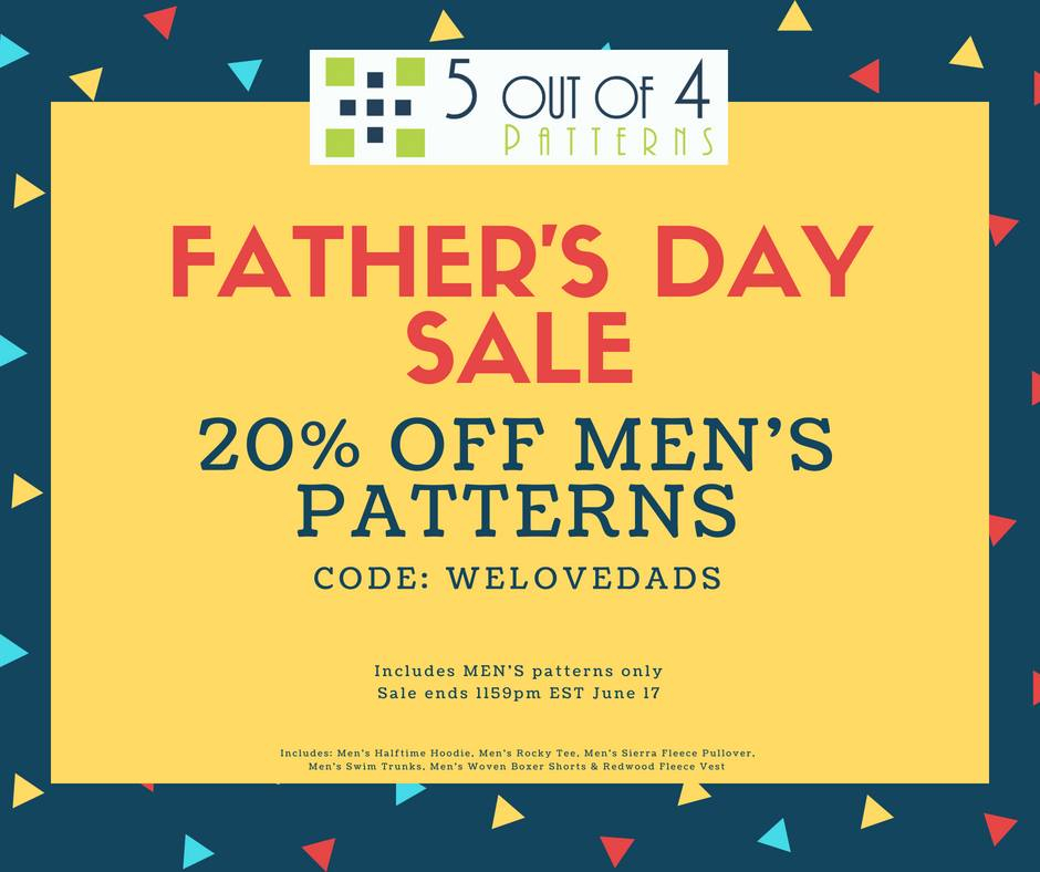 5 out of 4 Sewing Patterns Father's Day Sale!