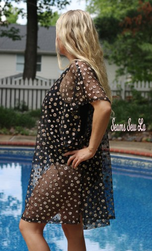 Black and Gold Glitter Swimsuit Cover Up Sewing Pattern
