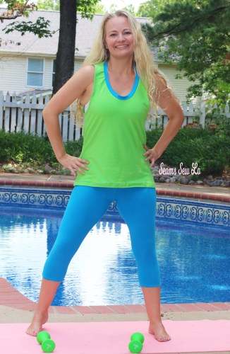 Lime Green and Blue Cotton Lycra by Simply By Ti Fabrics