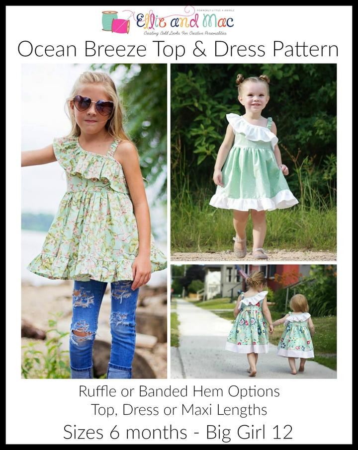 Girls Ocean Breeze Top and Sewing Pattern by Ellie and Mac