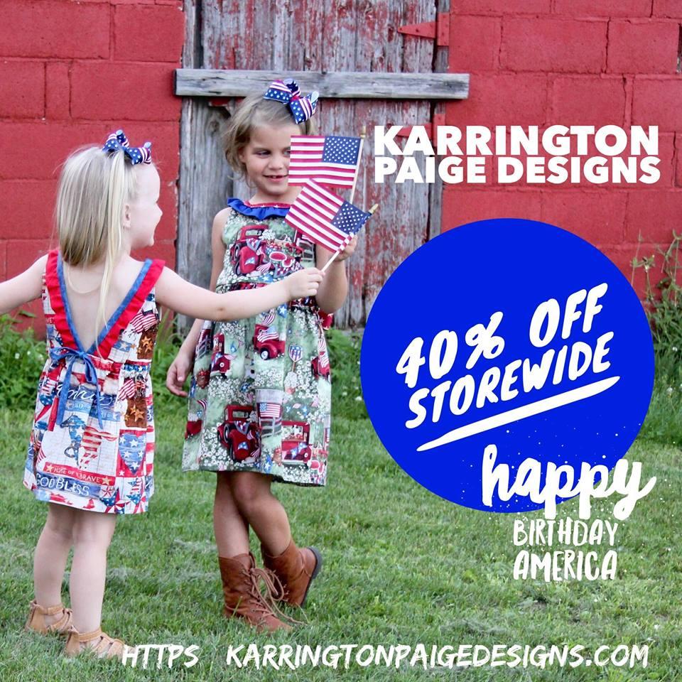 Karrington Paige Designs 4th of July Sewing Pattern Sale - Seams Sew Lo