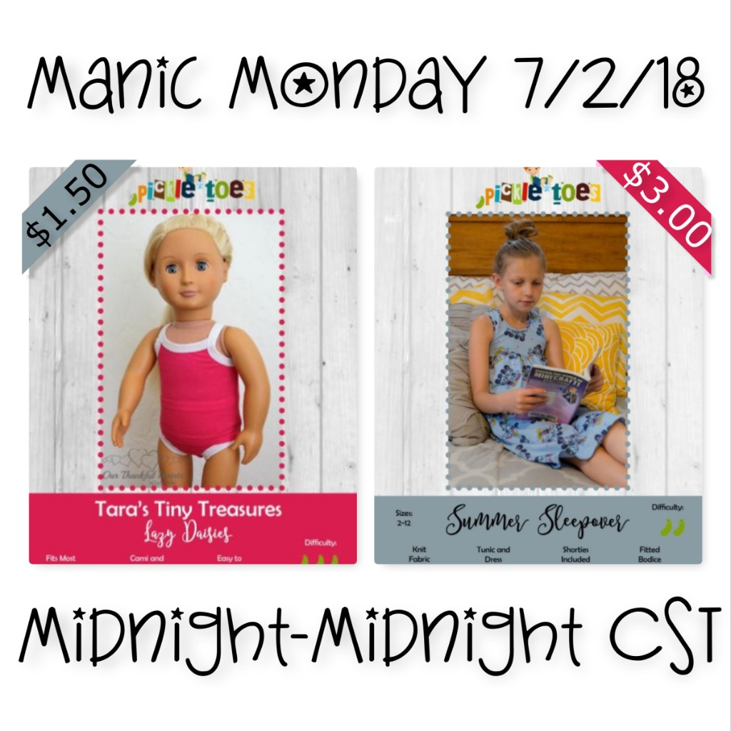 Manic Monday Sewing Pattern Sale with Pickletoes Sewing Patterns