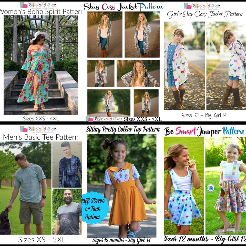 Wacky Wednesday $1 Sewing Patterns by Ellie and Mac July 25th