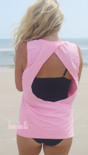 Open Back Work Out Tank Sewing Pattern in Pink Swim Fabric
