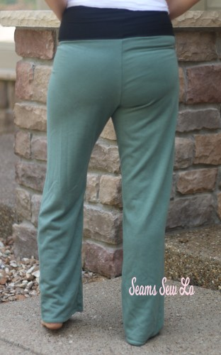 Pippa Pants Yoga Pants Sewing Pattern in Green Glitter French Terry Back