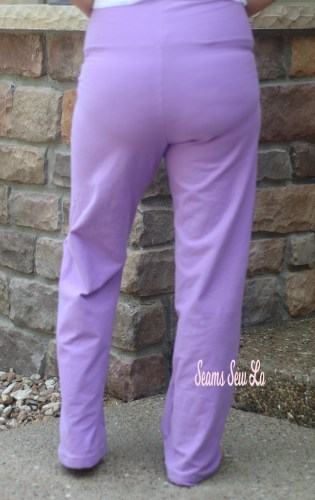 Pippa Pants Yoga Pants Sewing Pattern in Purple Cotton Lycra Back