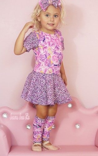 Girls Ballet Leotard, Leg Warmers and Bow Sewing Patterns