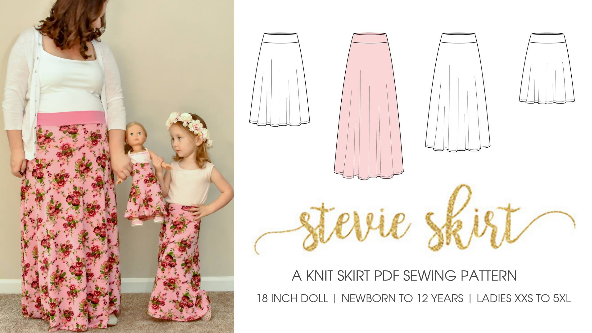 Stevie Skirt Sewing Pattern Sale for Women Girls and Dolls