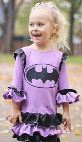 DIY Girls Batgirl Dress Sewing Pattern in purple and black SVG