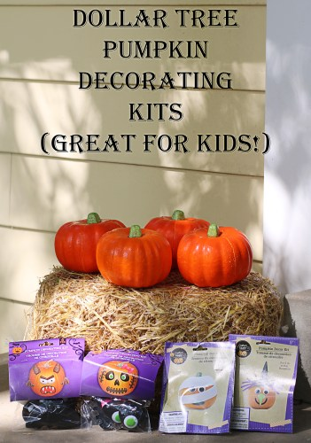 Dollar Tree Pumpkin Decorating Kits. Great for kids