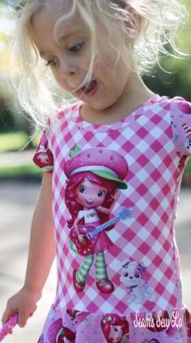 Lengthened Sewing Pattern Bodice to fit Custom Strawberry Shortcake Inspired Fabric Panel