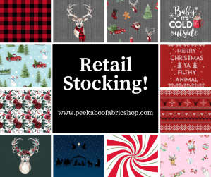 Retail Christmas Fabric Stocking at Peek A Boo Fabric