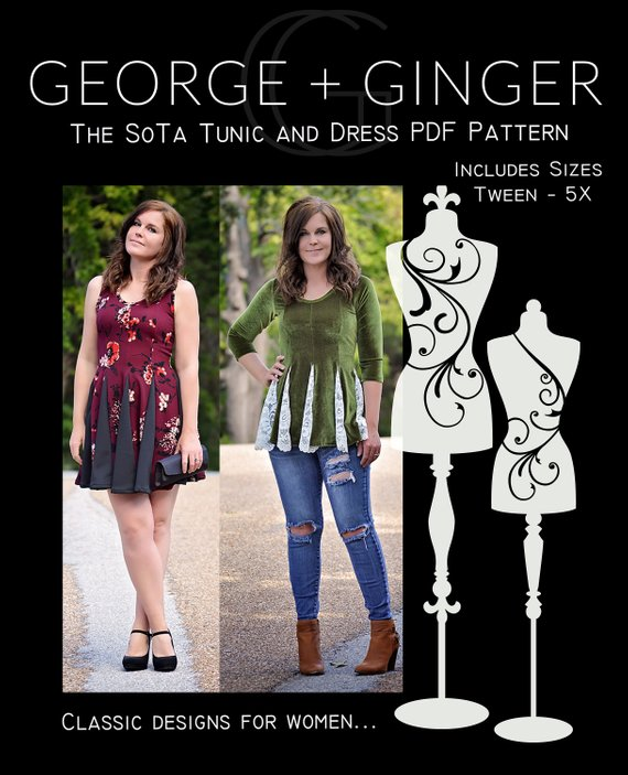 The SoTa Women's Tunic and Dress Sewing Pattern Release and Sale by George + Ginger