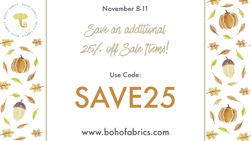 Boho Fabrics Weekend Tag Sale