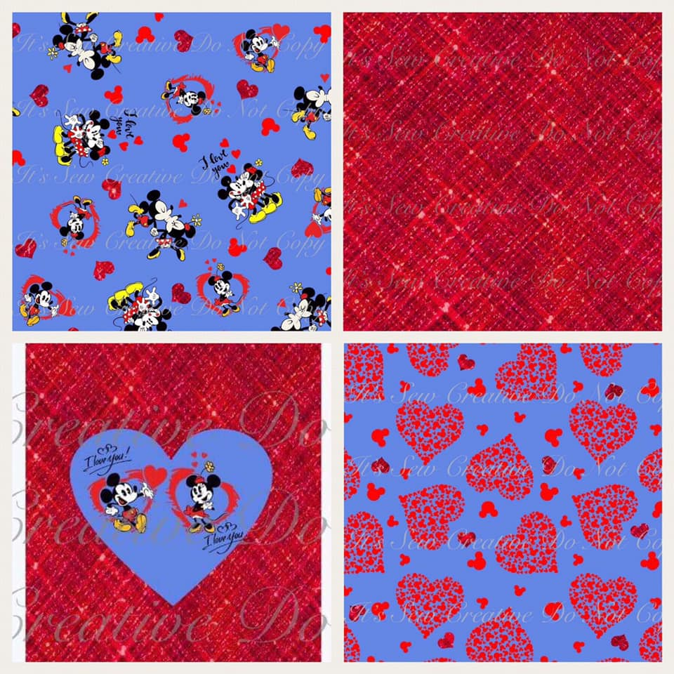 Mickey and Minnie Mouse Kissing Inspired Custom Fabric