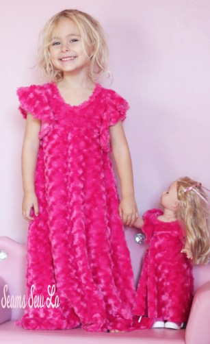 Pink Rosette Minky Dolly and Me Girls Dress Sewing Pattern Be Dreamy By Ellie and Mac