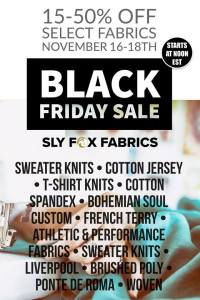 Sly Fox Fabrics Black Friday Sale