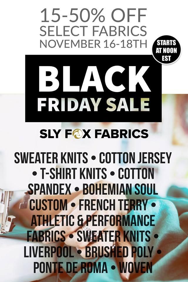 Sly Fox Fabrics Black Friday Sale
