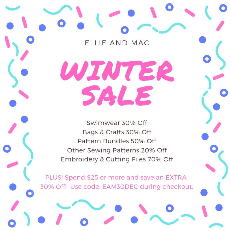 Ellie and Mac Sewing Patterns Winter Sale
