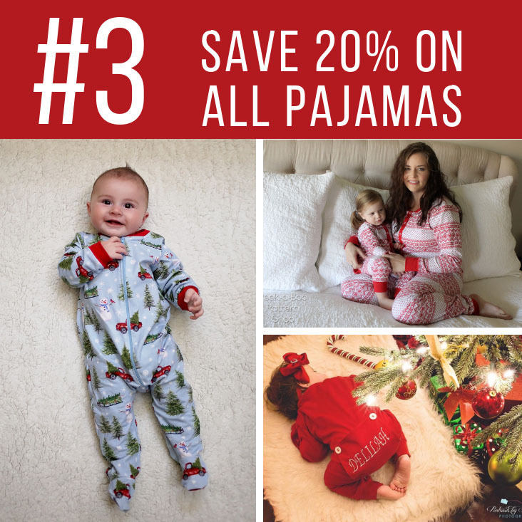 Peek a Boo Pattern Shop Third Day of Christmas Sale - 20% off all Pajama Sewing Patterns