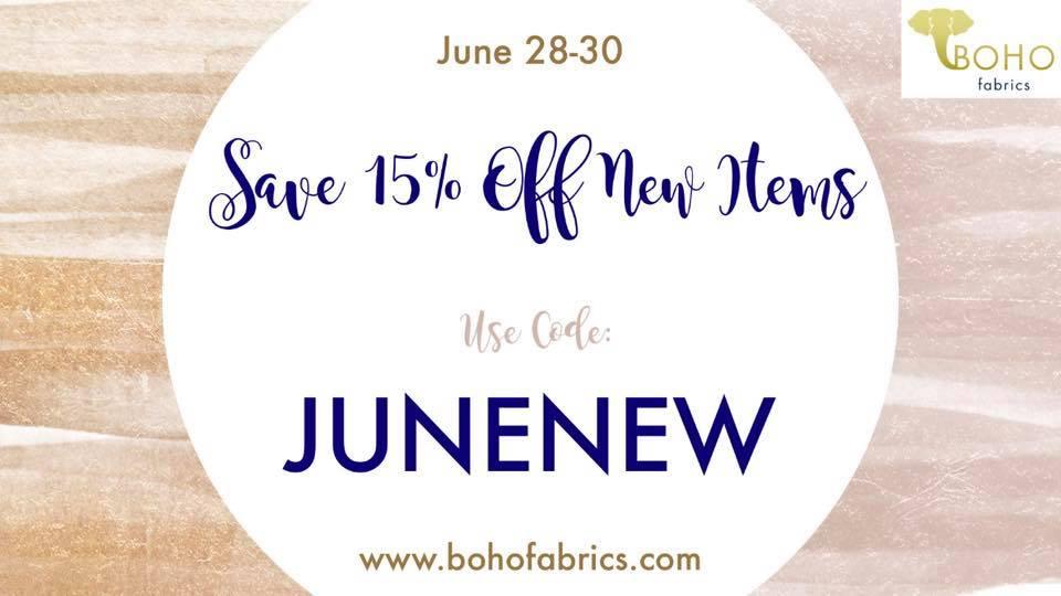 Boho Fabrics 15% off New Items