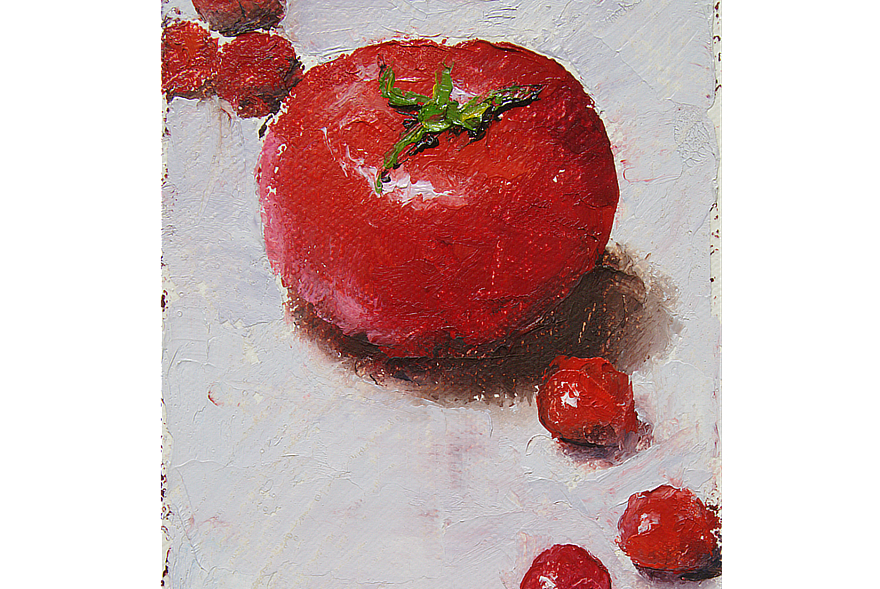 Multiplying Tomatoes Notecard Front Feature Painting Seamus Berkeley