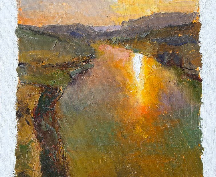 Colorful oil painting of a sunset at the confluence of the Colorado and Dirty Devil Rivers in Utah, United States Baffling Silence Painting Seamus Berkeley