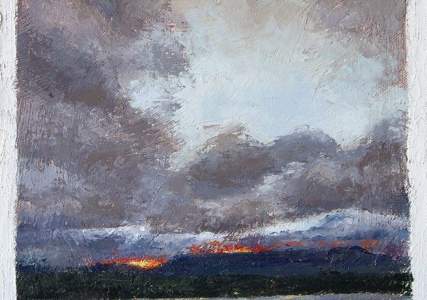 Water, Mountain, Sun, Clouds Painting Seamus Berkeley