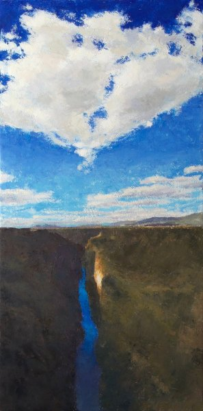 Oil painting of view of Taos, New Mexico and surrounding landscape and sky as seen from the gorge bridge.