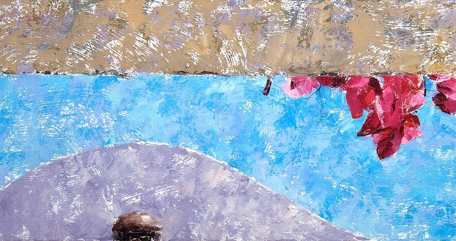 BIg Pink over Blue Painting Seamus Berkeley
