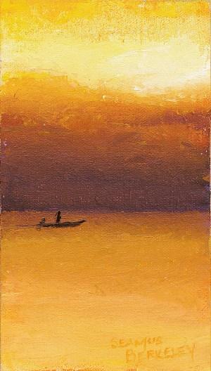 Sunset Fishing Painting Seamus Berkeley