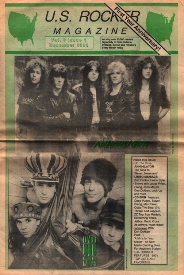 U.S. Rocker December 1990 Cleveland Annihilator Limbomanics