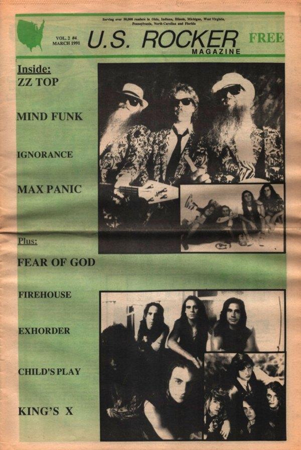 U.S. Rocker March 1991 Cleveland ZZ Top Ignorance Max Panic