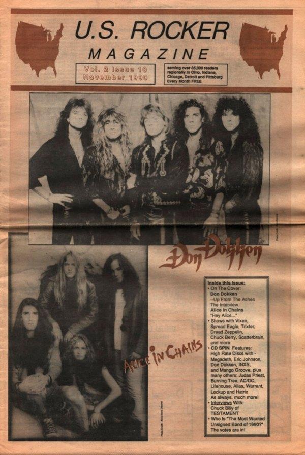 U.S. Rocker November 1990 Don Dokken Alice in Chains