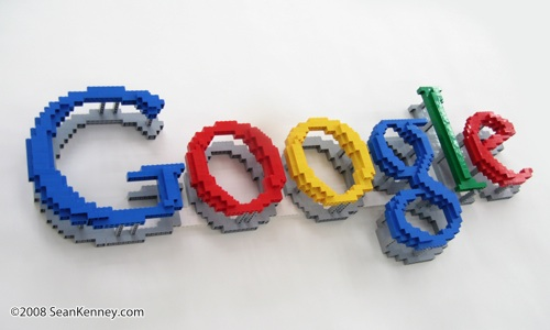 Sean Kenney   Art with LEGO bricks   Google logo  floating  LEGO Google logo  floating
