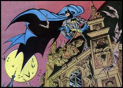 Norm Breyfogle's Batman: Note the exaggerated length of the cape in this panel