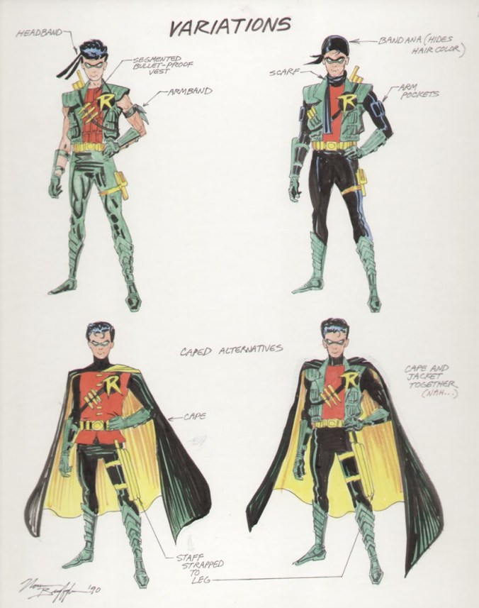 Norm Breyfogle experimented with several radical design concepts for Robin's new costume