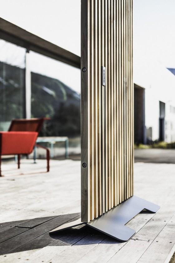 paravent exterieur de terrasse mario 99x155 cm en bois massif d acacia et acier de couleur seanroyale