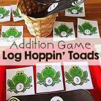 Addition Game Math Activity Kindergarten Log Hoppin' Toads